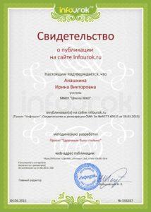 Сертификат проекта infourok.ru № 556267
